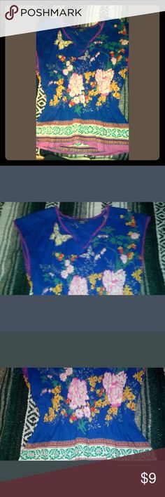 Butterfly Mexican style blouse Beautiful never worn. Beautiful and colorful. With  elastic waist. Tops Blouses