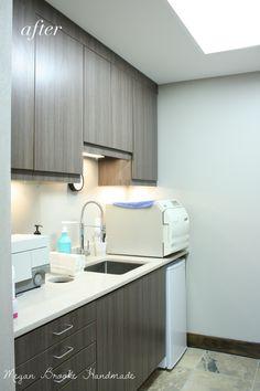 gray cabinets, white counters for operatories/sterilization