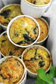 Delicious, savory, crustless quiche muffins made with spinach, feta cheese and quinoa.