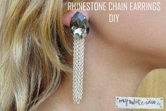 RHINESTONE CHAIN EARRINGS DIY | MY WHITE IDEA DIY #diy #earrings #tutorial