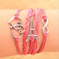 Infinity Double Heart and Effel Tower Charm Bracelet by ATHiNGZ, $4.99