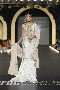 White and gold sharara- classy! | Fahad Hussayn - Pakistan Bridal Week 2013