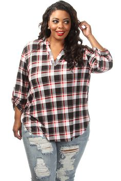 This cute plus size top features a plaid print body, adjustable sleeves and button down collar. Soft, stretch material Loose fit 96% Polyester 4% Spandex Model wearing 3X Made in USA