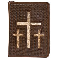 Just got this one today.-) Basket Weave Bible Cover With Three Crosses & Hair On Hide Inlay Bible Covers, Leather Projects, Journal Covers, Basket Weaving, Crosses, Cowboy Hats, Weave, Iron Gates, Altar