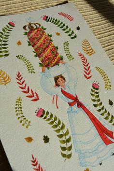 Portugal's Traditional Clothing – Trajes Regionais de Portugal – Caroline Illustrations Portugal, Tarot Decks, Watercolor Illustration, Gouache, Portuguese, Traditional Outfits, Illustrations, Etsy Store, Folk