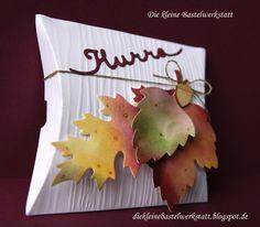 Stampin up Herbst Laub Pillow-Box Grussworte Verpackung Geschenkverpackung