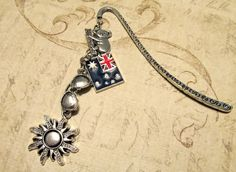 """AUSTRALIA Bookmark with FOUR Charms (3.25"""") - Custom Orders Welcome"""
