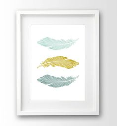 Turquoise Feather Print Printable Art Mustard And by nanamiadesign