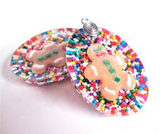 #Christmas #earrings with gingerbread men  by sparklecityjewelry, $22.00