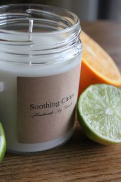 Soothing Citrus Scented Soy Candle 8oz Handmade by SimpleLights, $7.50