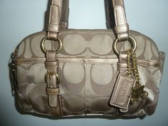 Coach Style 12680 Soho Sateen Signature Satchel Handbag in Gold/ Silver / Brown #Coach #Satchel