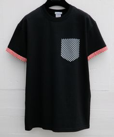 Men's Checker's Pattern, Black Pocket T-Shirt with Sleeves, Men's T- Shirt, Pocket tee, Unisex, Menswear, UK, Custom Made by HeartLabelTees on Etsy