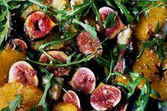 Plenty More by Yotam Ottolenghi -Recipes. Caramelized Fig Orange and Feta Salad. Fig Recipes, Salad Recipes, Vegetarian Recipes, Cooking Recipes, Healthy Recipes, Recipes Dinner, Pancake Recipes, Crepe Recipes, Waffle Recipes