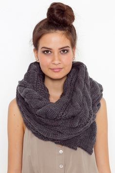 Oversized Cable Knit Scarf - Charcoal - StyleSays