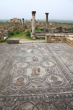 Volubilis, Maroc (Morocco). UNESCO World Heritage Site - Roman Archaeological Site of Volubilis in Morocco