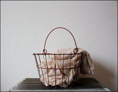 vintage egg basket $38 #gift #basket #garden #eggs #wire #etsy