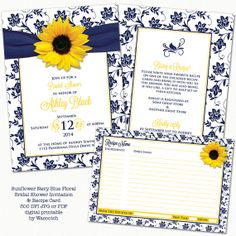 More new stuff from my Etsy store. Yellow sunflower navy blue and white floral damask and ribbon recipe themed bridal shower invitation and recipe card digital printable by wasootch, $25.00
