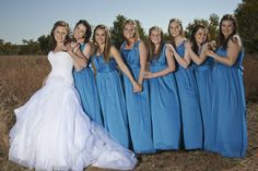 Beautiful bridesmaids in blue