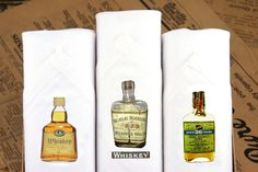 Three handkerchiefs for men. Made of Cotton and printed with vintage whiskey bottles motifs. a Great gift for him! 30 Gifts, Gifts For Him, Unique Gifts, Great Gifts, Handmade Gifts, Local Charities, Work Opportunities, People In Need, Handkerchiefs
