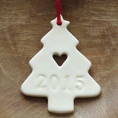 2015 Christmas Tree Decoration Ceramic White 2015 by SpryCeramics - Hobbies paining body for kids and adult Ceramic Christmas Decorations, Xmas Decorations, Christmas Projects, Holiday Crafts, Clay Ornaments, Christmas Ornaments, 1 Advent, Bazaar Crafts, Polymer Clay Christmas