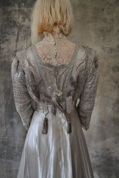 Edwardian silver silk wedding gown