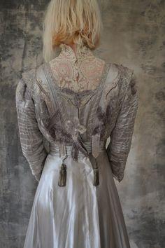 Edwardian Gown Silver Silk Wedding Dress by Petrune on Etsy