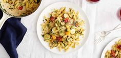 Pasta with Tomato Confit, Green Olives, and Zucchini