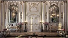 Rounded furniture more accurately represents the Louis XVI period, rather than Louis XIV,