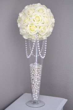 IVORY Elegant Real Touch Roses flower ball with draping pearls. You will be absolutely amazed at how real and stunning the roses look. The foam has crisp edges and holds its form over time. Ivory Wedding Decor, Pearl Wedding Decorations, Wedding Table, Rustic Wedding, Wedding Reception, Wedding Venues, Bridal Shower Flowers, Wedding Flowers, Diy Flowers