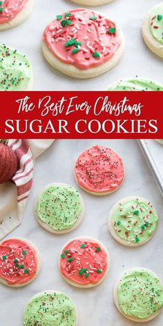 Serve up the best Christmas Sugar Cookies this year, with this no chill dough. Q… Serve up the best Christmas Sugar Cookies this year, with this no chill dough. Quick to make and soft and flaky cookies topped with homemade frosting. Homemade Sugar Cookies, Homemade Frosting, Soft Sugar Cookies, Sugar Cookie Frosting, Yummy Cookies, Quick Cookies, Cream Cheese Sugar Cookies, Best Christmas Sugar Cookie Recipe, Sugar Cookie Recipe No Chill