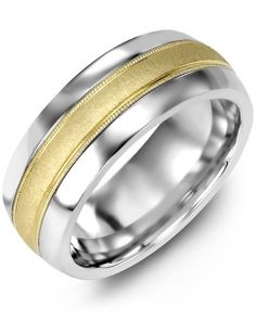 Mens Wedding Band in 14K Yellow Gold and Colbalt
