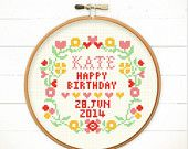 Modern Cross Stitch pattern PDF - Heart with Love Floral Frame - Xstitch Instant Download - Cute Sweet Love Funny wedding birthday message