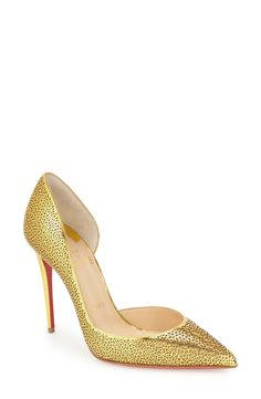 Christian Louboutin 'Galu' Laser Cut Half d'Orsay Pump (Women) available at #Nordstrom
