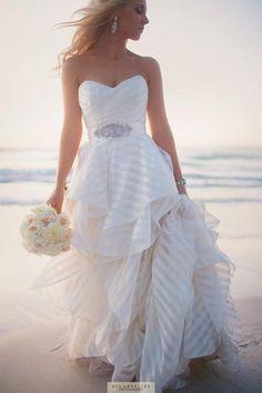 Hayley Paige wedding dress I like the striped fabric. Nautical Wedding Dresses, Disney Wedding Dresses, Wedding Dresses 2014, Cheap Wedding Dress, Wedding Gowns, Wedding Bride, Wedding Cake, Prom Dresses, Wedding Inspiration