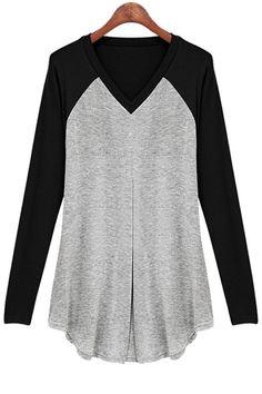 V-Neck Color Block Irregular T-Shirt