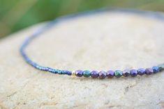 Tiny beaded bracelet Seed Bead Bracelets, Cord Bracelets, Ankle Bracelets, Stretch Bracelets, Seed Beads, Beach Anklets, Amethyst Bracelet, Metallic Blue, Bracelet Making