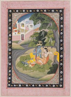 Radha and Krishna in a Grove.   Indian, Pahari second half of 19th century.   Object Place, Kangra style, Punjab Hills, India