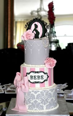 Pretty girl baby shower cake with damask, stripes and silhouette ♥ Gorgeous Cakes, Pretty Cakes, Amazing Cakes, Cakepops, Fondant Cakes, Cupcake Cakes, Sugar Cookie Icing, Shower Bebe, Just Cakes