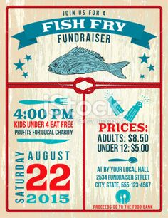 Nautical Themed Fish Fry Poster Template Royalty Free