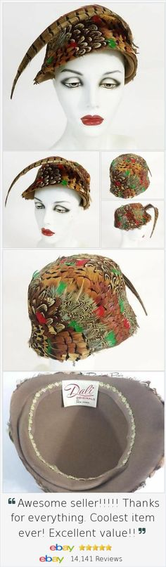 This hat is a real statement piece. Vintage Womens Pheasant #FeatherCloche Cocktail Hat has beautiful rich coloring and elaborate pattern! 1950s + Hatbox