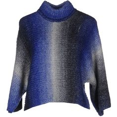 Only Turtleneck ($40) ❤ liked on Polyvore featuring tops, sweaters, blue, blue sweater, two tone sweater, print turtleneck, print sweater and turtle neck sweater
