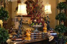 tuscan style flower arrangements | Silk floral arrangement , lamp,books, topiary | Decorative home accen ...