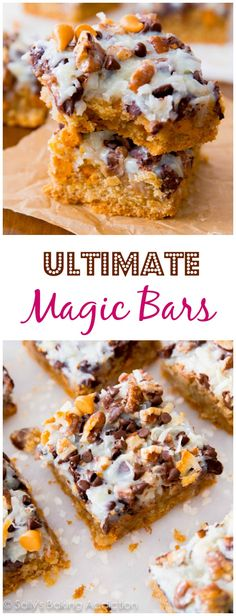 Soft-baked graham cracker cookie bars with butterscotch and chocolate! An ultimate version of the classic magic bar/hello dolly bar. Magic Cookie Bars, Cookie Brownie Bars, Cookie Desserts, Just Desserts, Delicious Desserts, Magic Bars, Brownie Recipes, Cookie Recipes, Dessert Recipes