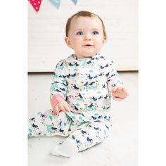 41a30a0539 Frugi Organic Lovely Babygrow - Soft White Puffin Parade. Whats New. Baby  goes Retro
