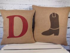 Burlap cowboy boot & monogram pillows -  set of 2 - perfect for a rustic nursery or child's room - Pillow Inserts Sold Separately by LaRaeBoutique on Etsy https://www.etsy.com/listing/153496814/burlap-cowboy-boot-monogram-pillows-set