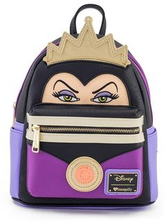 """👑💜💛Loungefly - Disney Evil Queen Villain ~ Mini Faux Leather Face Backpack - The Evil Queen is the fairest of them all given how delghtlyfully stunning this mini backpack is! """"Mirror, mirror on the wall, who is the fairest of them all? Disney Handbags, Disney Purse, Disney Evil Queen, Mini Backpack Purse, Travel Backpack, Cute Mini Backpacks, Mini Mochila, Faux Leather Backpack, Disney Trips"""