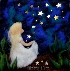 Star child Felt Fairy, Baby Fairy, Felt Christmas Stockings, Waldorf Crafts, Felt Pictures, Needle Felting Tutorials, Coloring Book Art, Angel Art, Handmade Felt