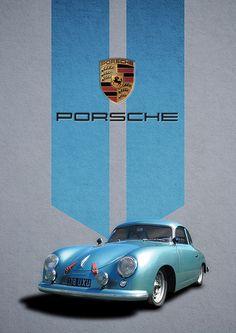 Gorgeous retro-chic Porsche 356 poster created in Photoshop. Porsche Autos, Porsche 924, Porsche Carrera, Porsche Cars, Porsche Classic, Classic Cars, Vintage Porsche, Vintage Cars, Cool Sports Cars