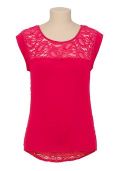 High-Low Chiffon Lace Back Top available at Maurices