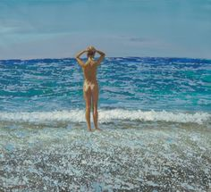 Bather I - Maria Filopoulou 2002 Greek oil on canvas 52 x 48 cm Private collection My Maria, Outsider Art, Mystic, Oil On Canvas, Folk, Greek, Nude, Water, Beaches